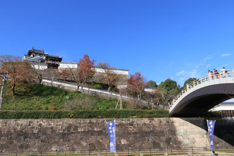 西側から見上げる福知山城。左奥のピークが天守。