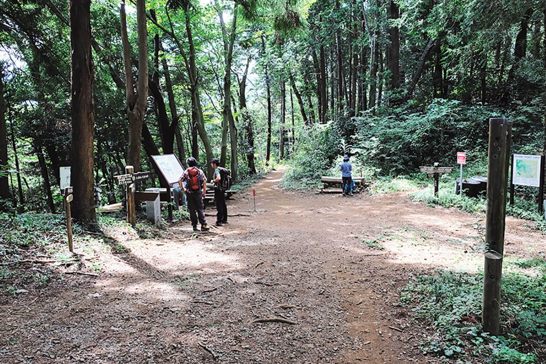 梅の木バス停から来る道と合流する三沢峠。五差路になっている。