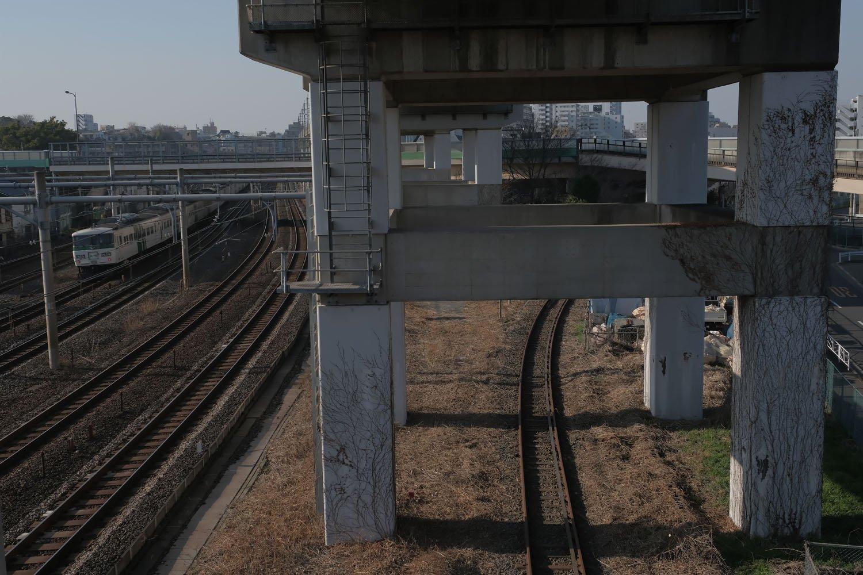 反対側をみる。北王子線の線路は東北本線や新幹線と別れる。折しも引退間際の185系の回送電車が通過。男の子は凝視していた。