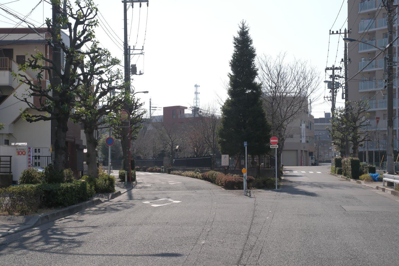 """須賀線の廃線跡。""""第2宮江踏切""""から分かれた道路が、この写真の左の道にあたる。写真中央部は王子四丁目公園。"""