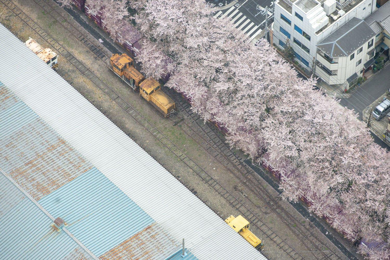 構内の貨車移動に使用した小さな機関車。線路もポイントが複雑に交差している。