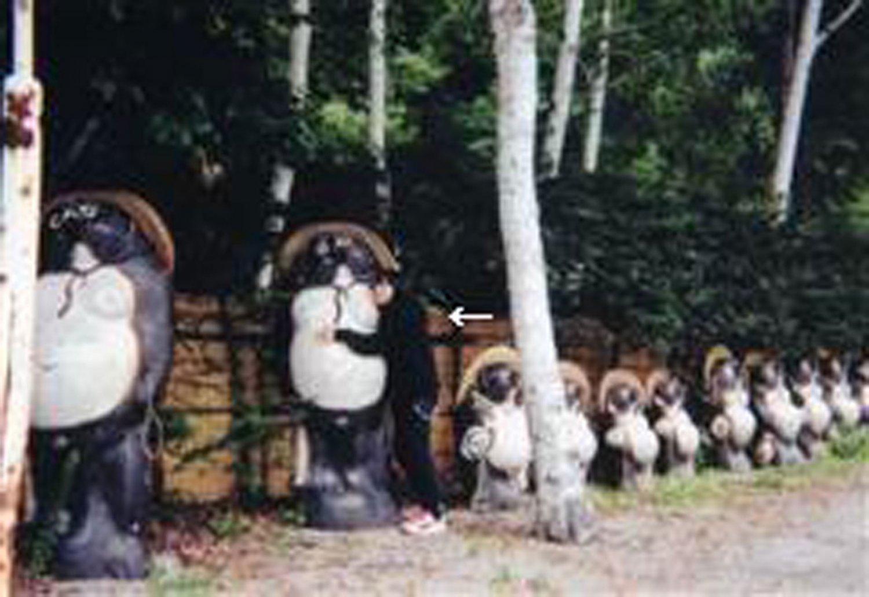 ツーリング先の洞元湖温泉でもタヌキを撮る(2002年)