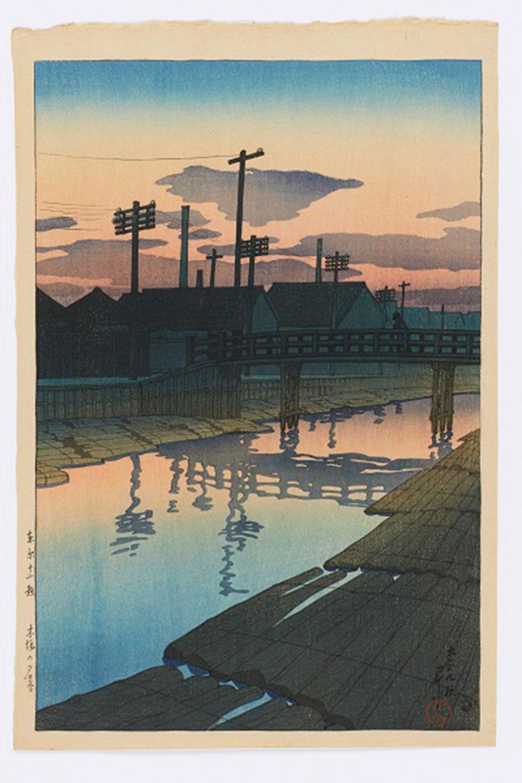 川瀬巴水《東京十二題 木場の夕暮》大正9年(1920)木版画 渡邊木版美術画舗 蔵