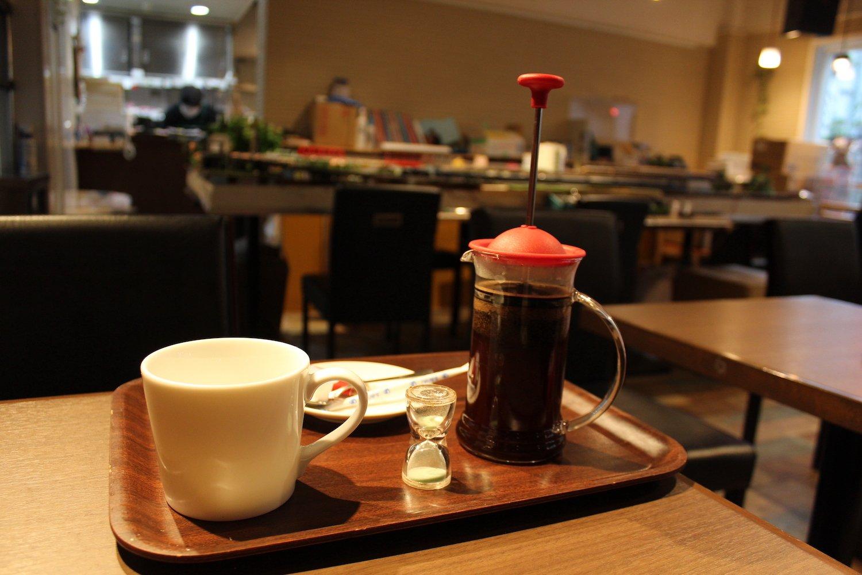 フレンチプレスコーヒー480円。