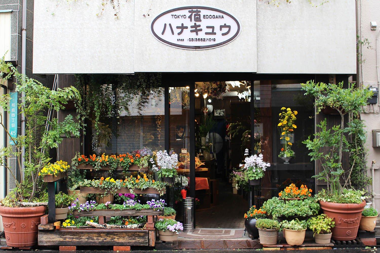 知る人ぞ知る老舗花店『ハナキュウ』。オーナーの舩岡剛人さんの技術とセンスに定評あり。