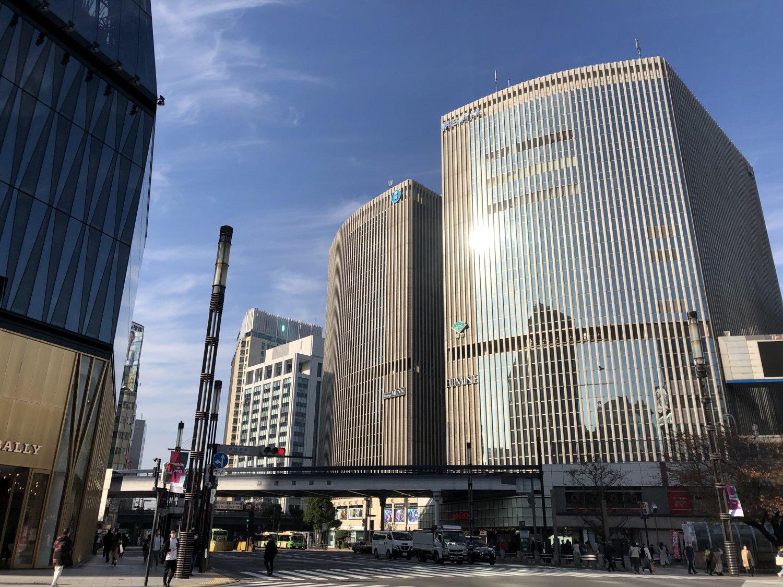 銀座から有楽町方面を望む。かつては日劇と朝日新聞本社ビルが並んで立つ眺めが見られた。