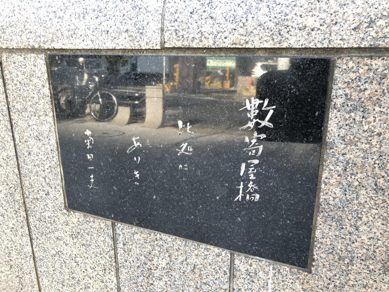 ラジオドラマ『君の名は』の脚本家・菊田一夫の筆による碑文。