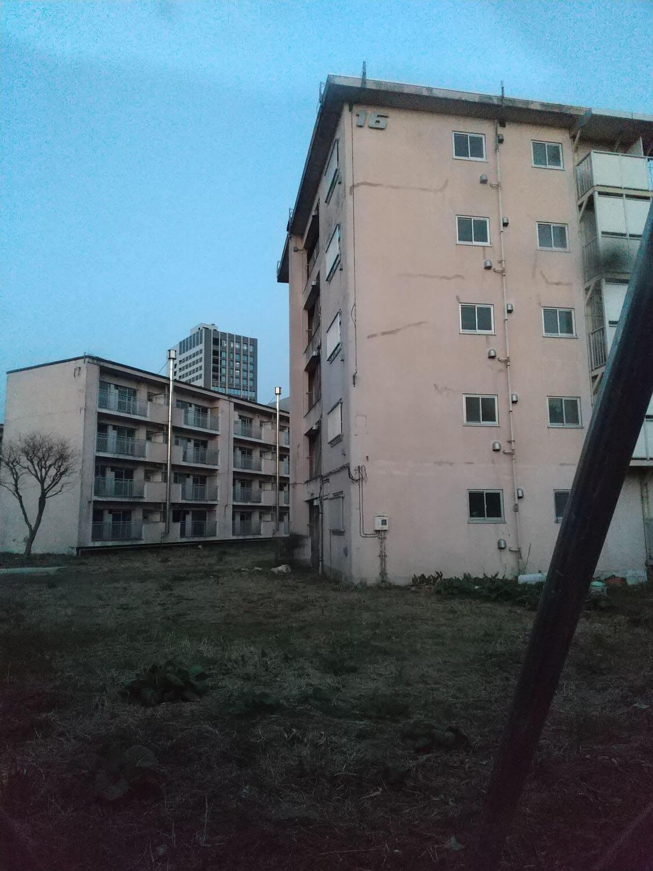 透明板から覗いた都営青山北町アパート敷地内。16号棟と17号棟。人間だけが居なくなって静まり返っている。