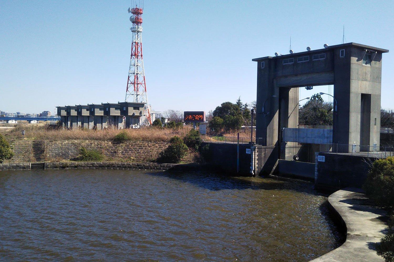 江戸川水閘門(1943年竣工)。通称:篠崎水門、江戸川水門。帝釈天周辺から約6km下流にある、旧江戸川を仕切る水門。タコ社長らしき子ブタの死骸が発見されたのは、この辺りか。みんなで叫んでみよう!「社長さああん」