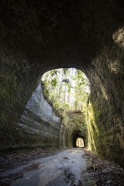 歩いてきた農道が再び市原市民の森への車道へ合流する前の分岐を左へ。細く、うねるように続く道をたどるとやがて現れる大きなトンネル。二連のトンネル間上部にある大きな開口部は、どうやら過去の崩落でできたらしい。