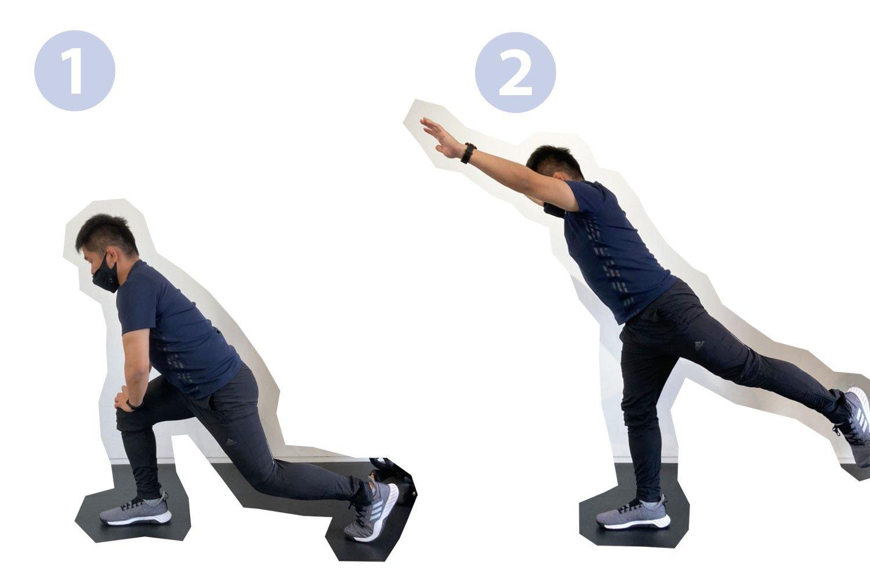 チャレンジできそうな方は、①の体勢で両手を膝ではなく床にタッチしてみましょう。