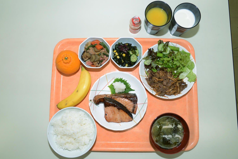 一般自衛隊員向けの3200kalに、主菜は肉と魚両方など3品1400kal分を加えた特別食。種目別や減量期など選手自身が分量を調整しながら食べる。(写真提供:自衛隊体育学校)。