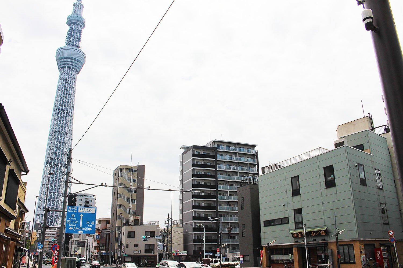 『埼玉屋小梅』向かって左手に見える東京スカイツリー。
