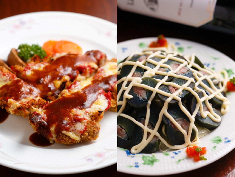 チキンコントワール(写真左)1030円。ナスとオイルサーディンのサラダ750円は、真空調理したナスのプリサク食感にも驚く。旨味が濃い一品だ。