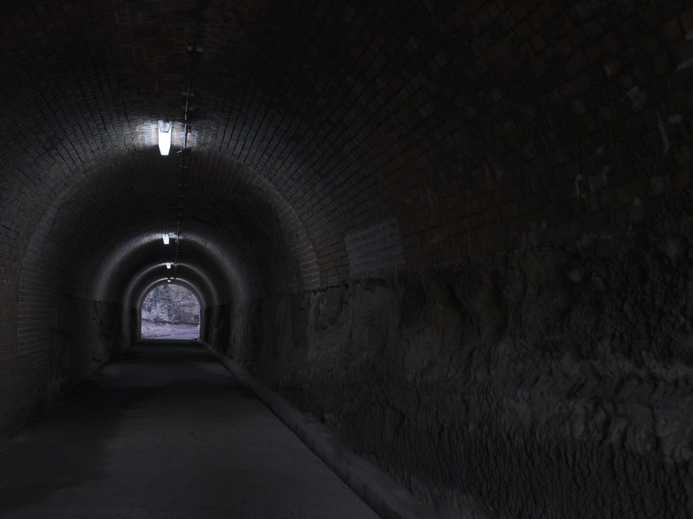 トンネル内部。しっかりとレンガで巻かれ、壁面も崩れにくそうで頑丈に見える。ここを軍用車両が行き交った。