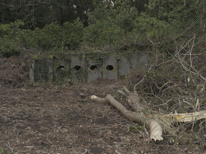 北門第一砲台跡へ向かう道すがらにも何かの施設の痕跡があった。