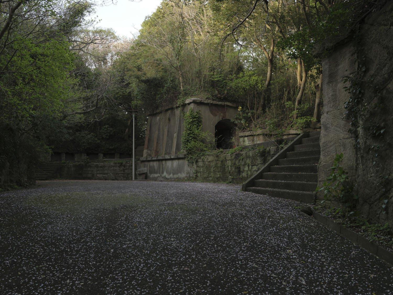 近づくと砲台跡だと分かる。中央のレンガトンネルは横墻で、下部にあった弾薬庫から砲弾を上げ下げしていた。右の階段を登ると砲座だ。