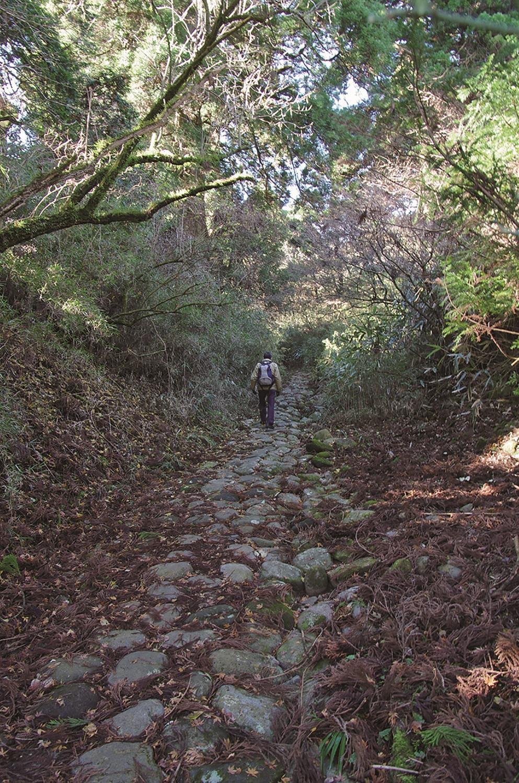 芦川の石仏の先には石畳の道が残る。