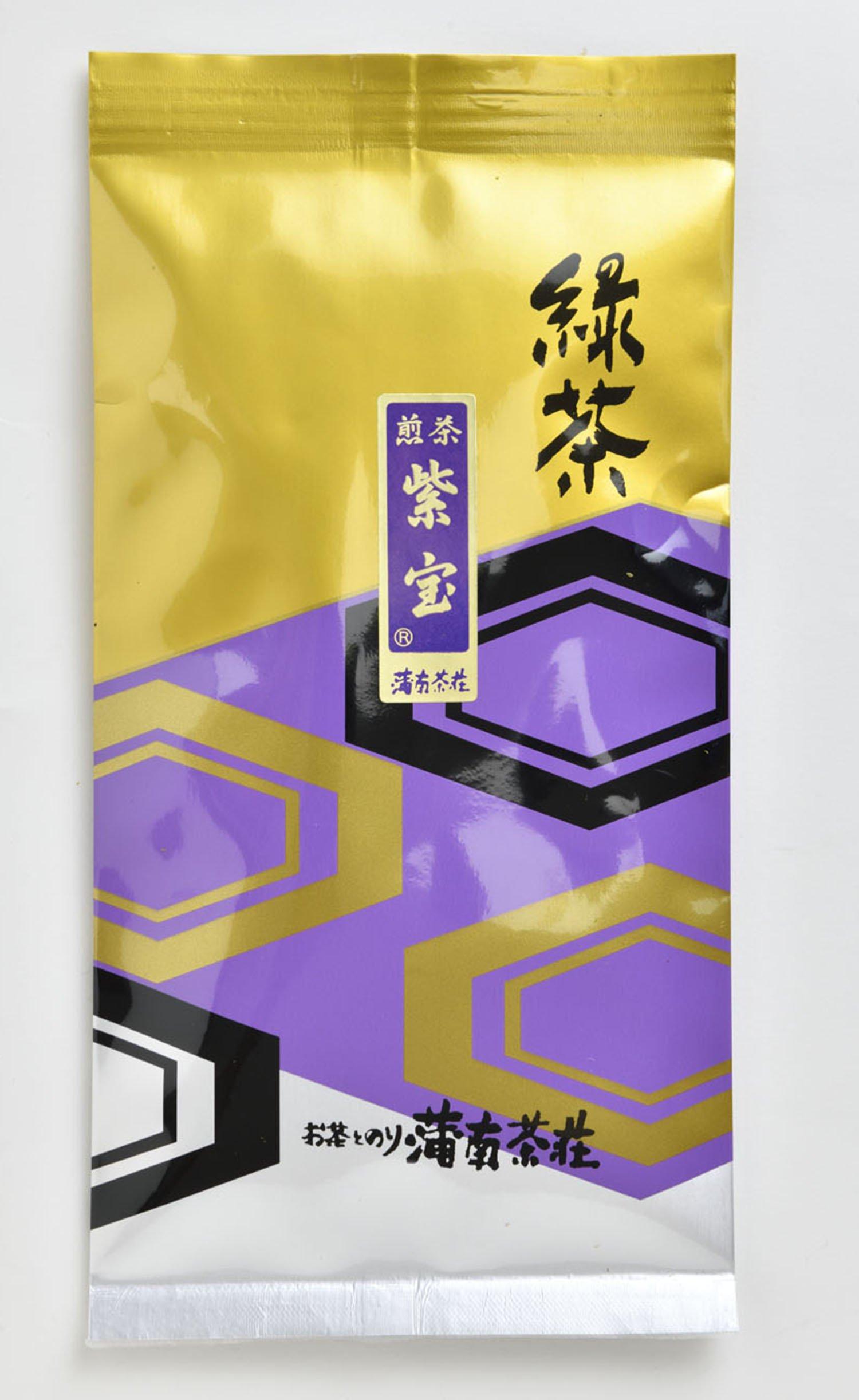 紫宝100g 1620円。店を代表する超深蒸し茶。