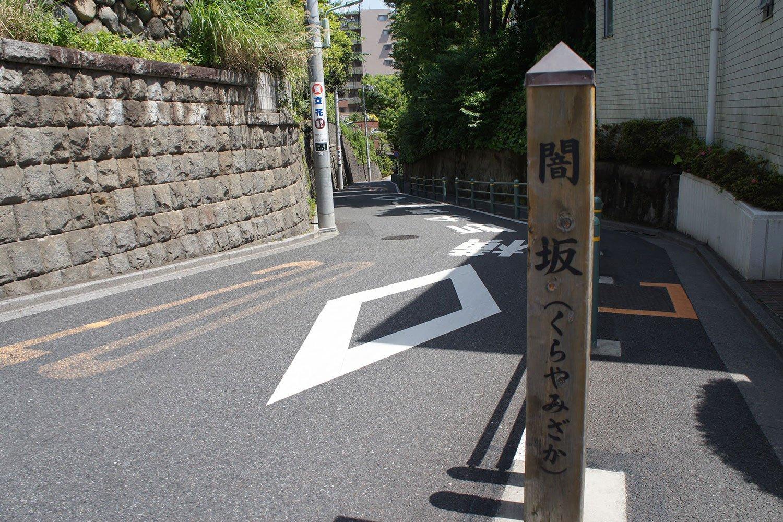 木々と石垣の間を抜ける、その名も「闇坂(くらやみざか)」。昭和の文士たちも往来していたに違いない。