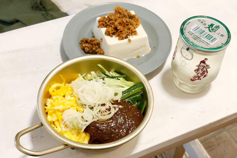 """じゃじゃ麺は食べ終わり直前に卵とお湯をたす""""ちーたん""""もバッチリ楽しんだ。"""