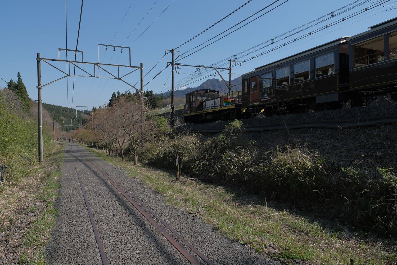 上り線を歩いていると再びシェルパくんが通過していく。舗装された上り線と現役の下り線。ここの廃線跡は二つの顔を持つ。