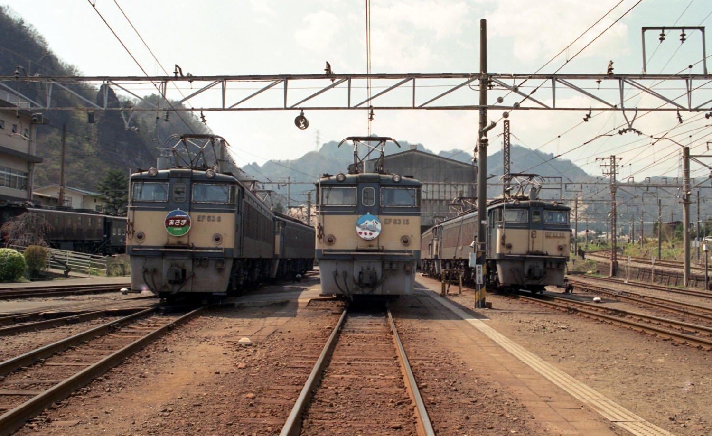 1994年4月17日撮影の横川機関区。ヘッドマークは撮影会での特別仕様。碓氷峠が廃止された後、機関区跡を生かした「碓氷峠鉄道文化むら」として生まれ変わった。