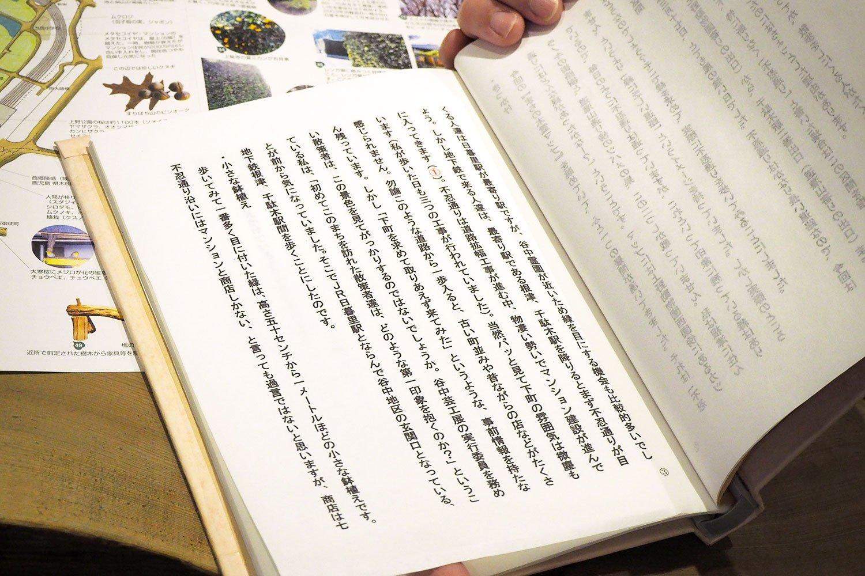 不忍通り沿いを歩き、街路樹や鉢植えの緑、マンションの緑、工事現場の囲いに描かれた緑など様々な形態の「緑」を記録した文章。