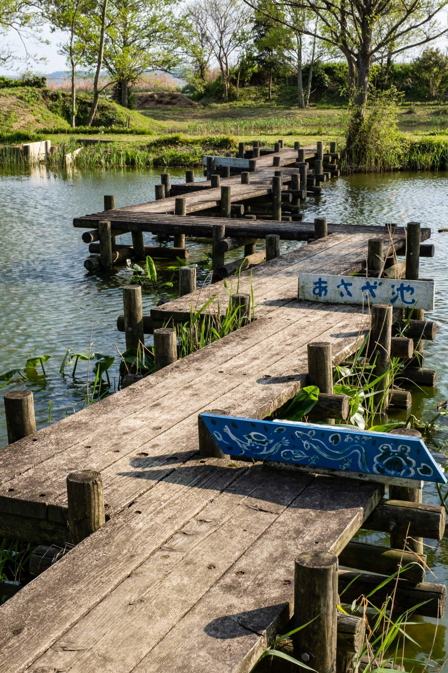 園内の池には自然観察用の木道がジグザグに延びている。
