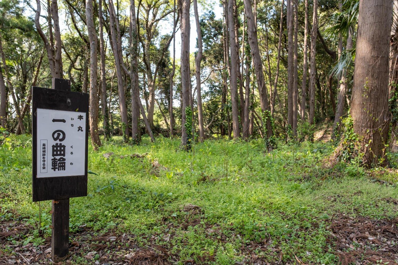 島崎城跡を守る会の手による案内板が城跡の各所に立つ。
