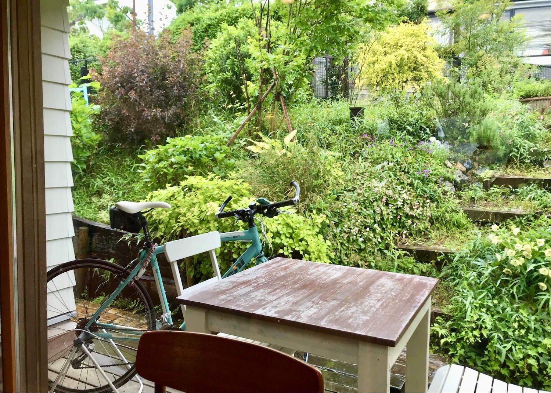 店内奥に借景のように広がる庭。ローズマリーやセージ、バジルといった地植えのハーブは料理にも。テラス席ならペット同伴可。