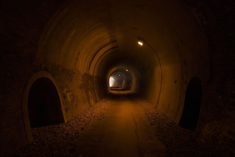 内部には列車待避用の横穴が残されている。