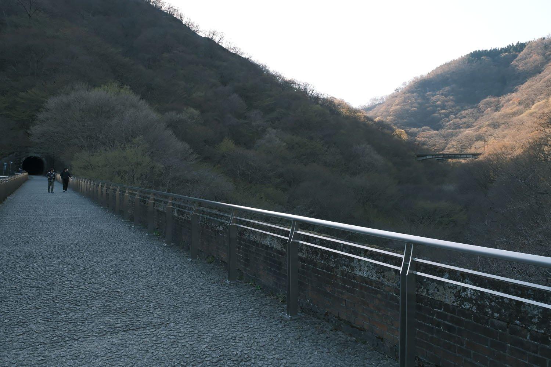 右側に新線跡のコンクリートアーチ橋が望める。ここからEF63を狙うファンは多かった。