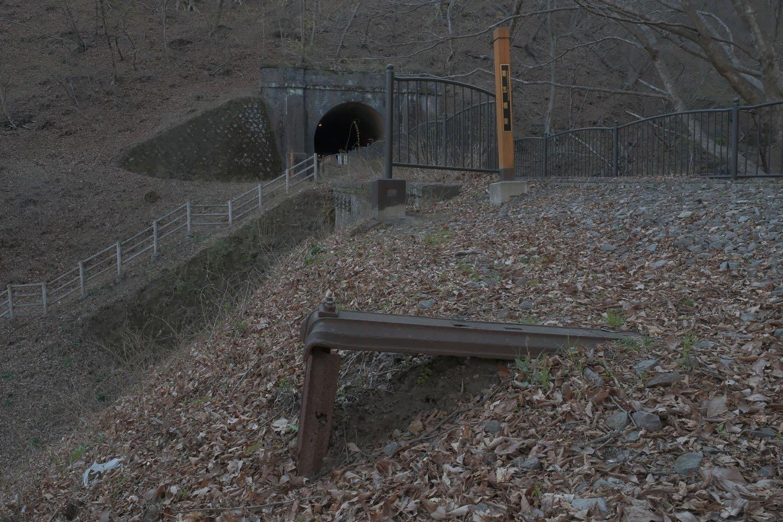 見落としそうなほど地味な遺構。アプト式時代の鉄枕木だ。奥は第7トンネル。