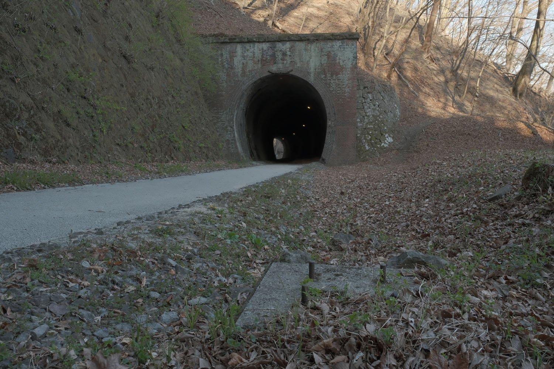 両トンネル間にあった支柱の基礎。鉄製の電信柱だと思われる。