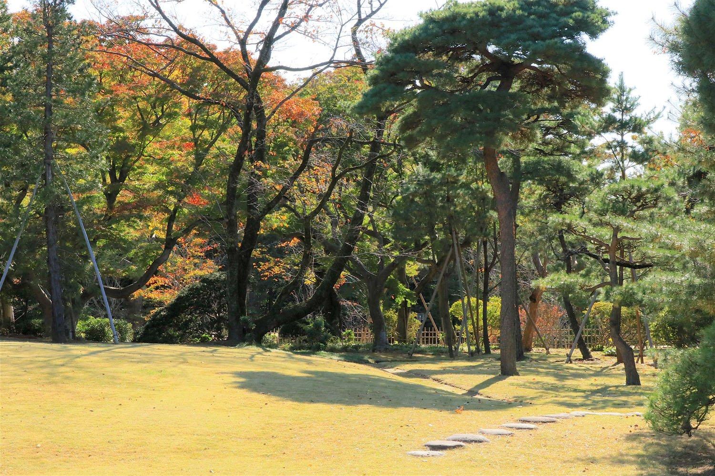 秋色に染まる戸定邸の庭園。
