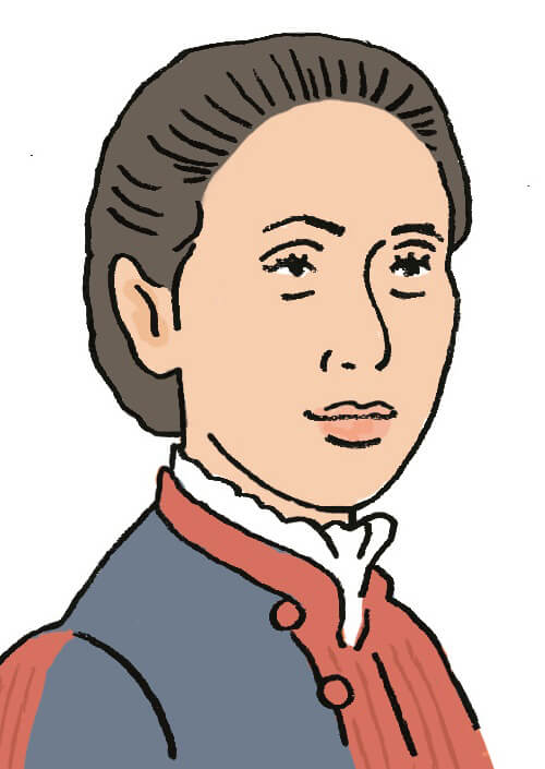おぎの・ぎんこ(1851~1913) 日本初の公許女医。18歳の頃に結婚するが病を患い協議離婚。闘病中の経験から女性医師の必要性を痛感し、医師を志すようになる。1885年(明治18)、医術開業試験に合格。同年、日本で最初の女性医師として湯島(現在の東京都文京区)に医院を開業する。