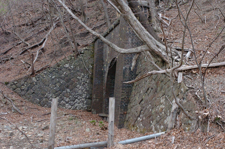 第16トンネルは軽井沢方が残存しているが、横川方は新線へ吸収されているため途中で行き止まりとなっている。2007年4月20日撮影。