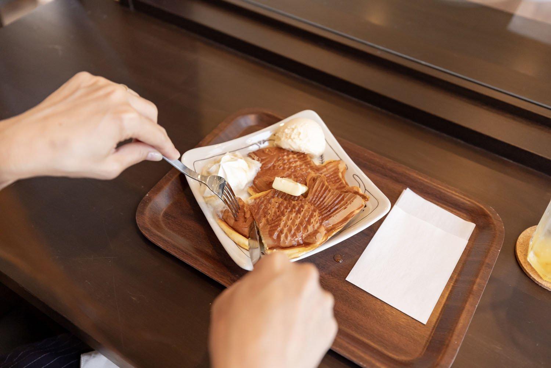 パンケーキ(メイプル&バター、アイストッピング)600円。