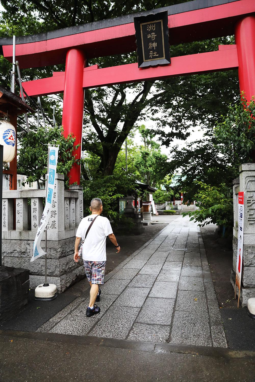 新田橋近くにある洲崎神社。「初めて境内に入ったよ」。