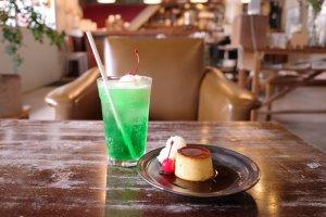清澄白河fukadaso cafe_プリンとメロンソーダ