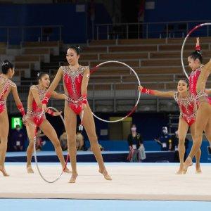 体操競技/湾岸に浮かぶ木の器でキラキラと輝く選手たち【東京オリンピックを歩く】