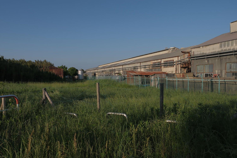 灰色の工場建物あたりが南西―北東方向の滑走路跡地だ。一見すると滑走路跡か分からない。