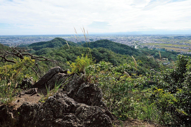 鏡岩のわきから鏡岩ハイキングコースとなっている登山道を行くと佐野市街が一望できる場所がある。