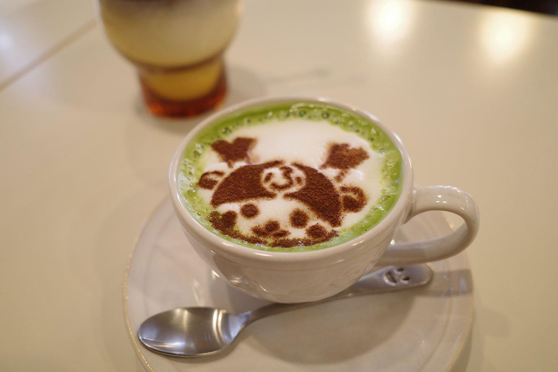 カフェ花見のふっかちゃん抹茶ミルク