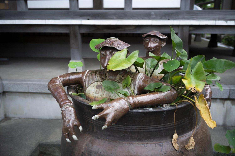 茅ケ崎に伝わる五郎兵衛とかっぱのあれこれを描いた民話「かっぱ徳利」。その五郎兵衛の一族が檀家だという輪光寺の境内には、徳利に入ったかっぱの銅像が鎮座。ちなみに茅ケ崎にある『熊澤酒造』には「かっぱシリーズ」という日本酒も。