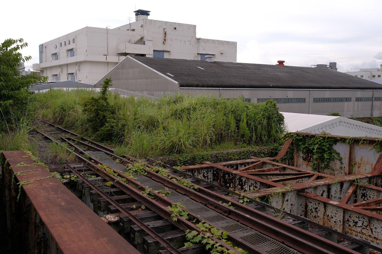 専用線が瑞穂橋に差し掛かるところ。右側は線路が敷かれた痕跡があるような無いような、はっきりと分からなかった。敷設していたとしたら、等間隔に並ぶ枕木の跡が縦桁に残っている場合がある。