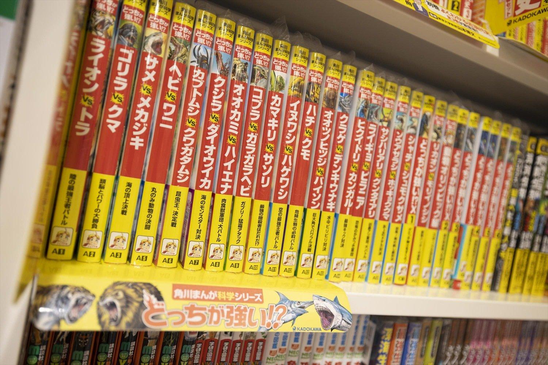 児童書コーナーは広く、人気のシリーズを揃えている。