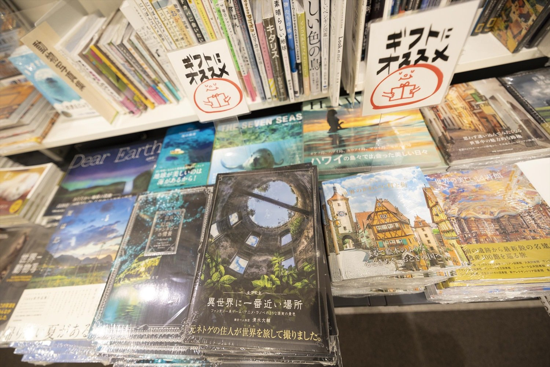 画集や写真集の棚が広い。同じフロアに映画館があり、上映作品と連動した書籍を販売することもある。