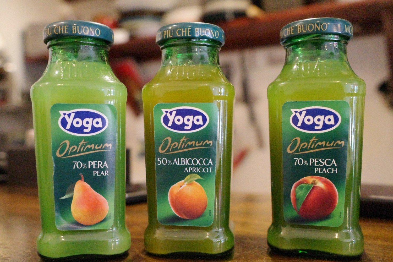 YOGA(ヨーガ)というブランドのフルーツジュースは、洋なし、アプリコット、ピーチの味がそろって各500円。日本ではあまり見かけないものの、イタリアでは国民的ドリンクだそう。
